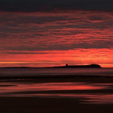 Inner Farne Lighthouse from Bamburgh Beach, Northumberland