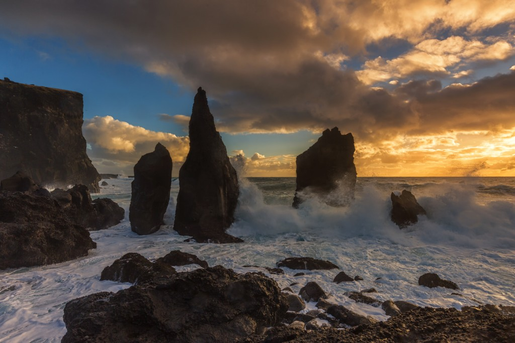 Sea Stacks at sunset, nr Sandvik, Iceland