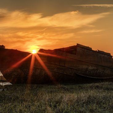 Sunrise Over Fishing Wreck, Fleetwood, Lancashire