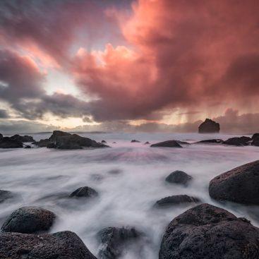 Sunset, Reykjanestá Beach, Iceland