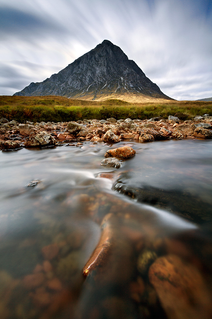 Low Water in the River Coupall, Buachaille Etive Mor, Rannoch Moor, Scotland