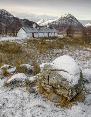 Snow Capped Meall a' Bhuird and Blackrock Cottage, Glencoe, Scotland