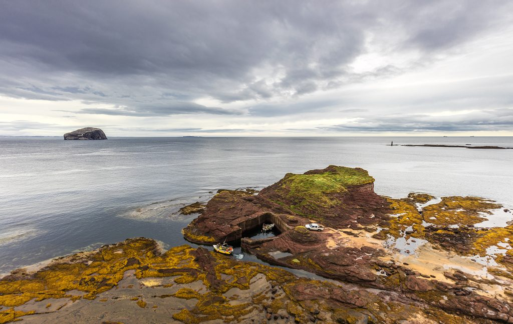 Seacliff, it's little hidden harbour and Bass Rock, East Lothian, Scotland