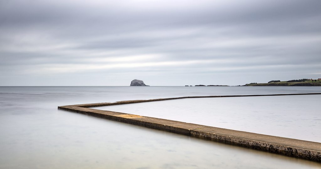 Tidal Pool and Bass Rock, North Berwick, East Lothian, Scotland