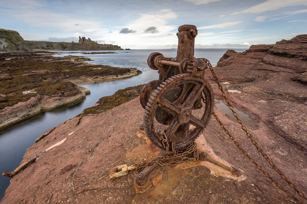 Rusty Winch, Seacliff Harbour, Tantallon Castle, Seacliff, East Lothian