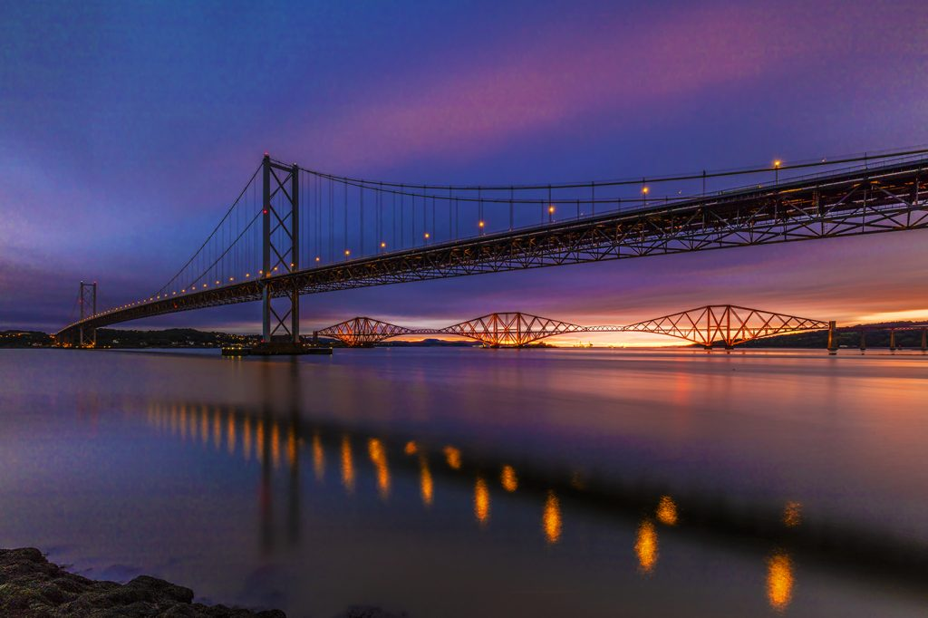 Stunning sunrise over the Forth Bridges, Edinburgh