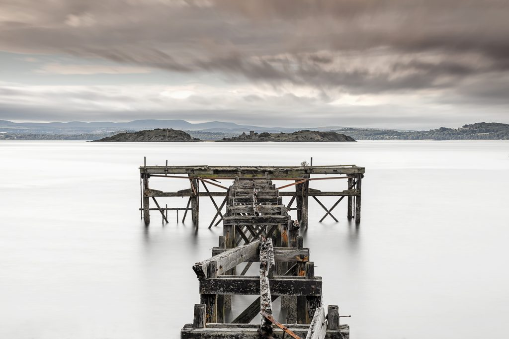 Stormy skies over Aberdour Jetty, Fife, Scotland
