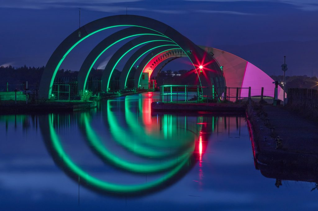 Night lights at the Falkirk Wheel, Scotland