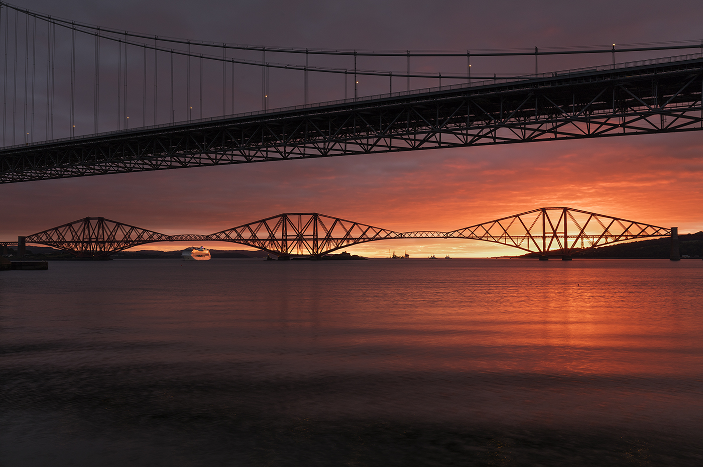 Sunrise over the Forth Bridges, Scotland, UK