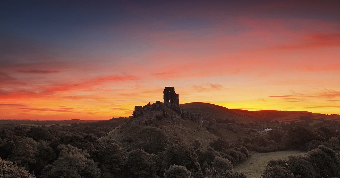 Sunrise over Corfe Castle, Dorset, UK