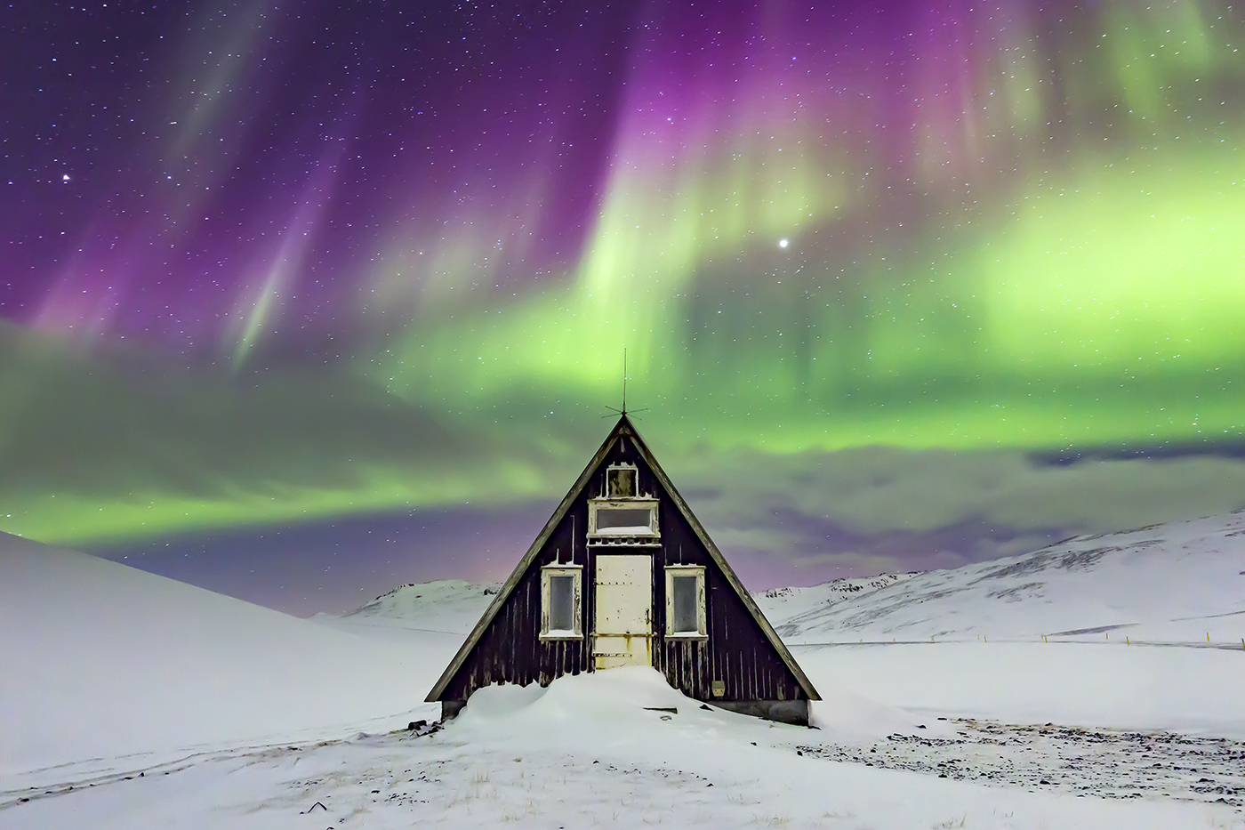 Aurora Borealis, Emergency Mountain Hut, Iceland