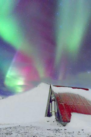 Emergency Hut, Aurora Borealis, Iceland