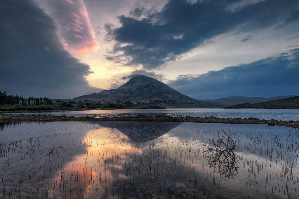 Mount Errigal from Lough Nacung Upper, County Donegal, Ireland