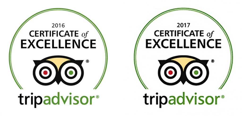Tripadvisor Certificate of Excellence 2016 & 2017