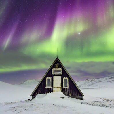 Aurora Borealis, Emergency Mountain Hut, Snaefellsnes Peninsula, Iceland