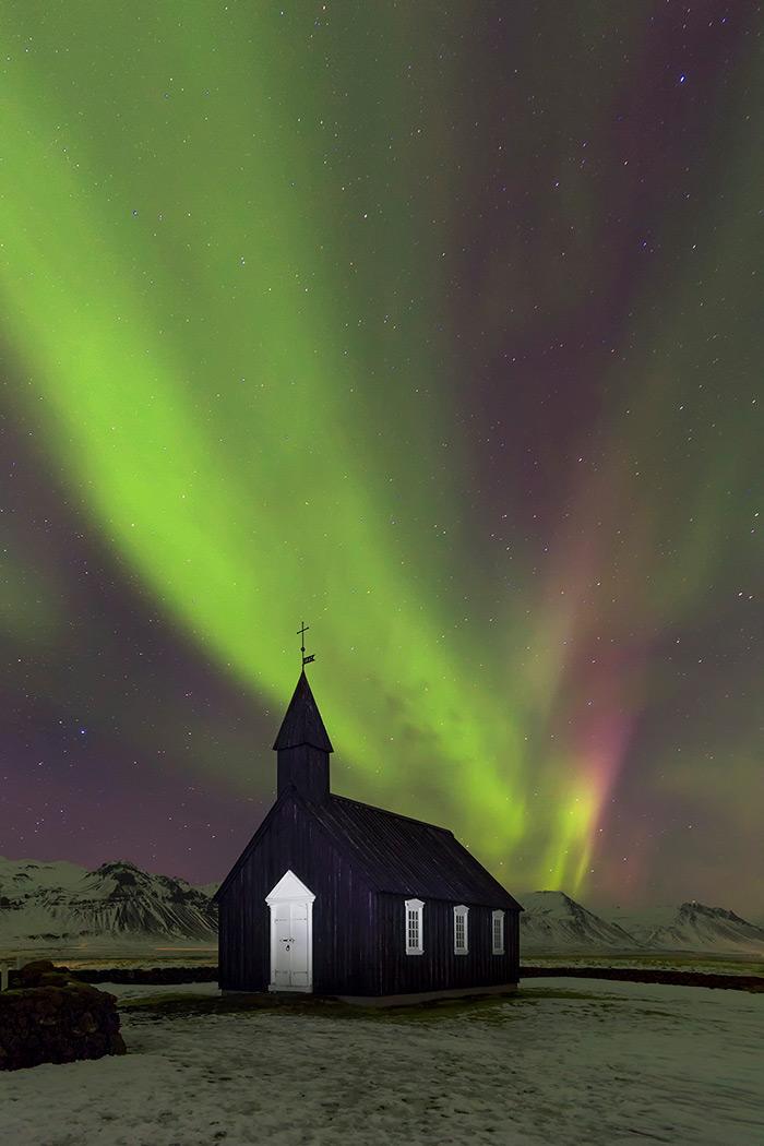 Kp5 Aurora Borealis, Búdir Church, Snaefellsnes Peninsula, West Iceland