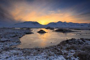 Sunset, Lochan na-h Achlaise, Rannoch Moor, Scotland