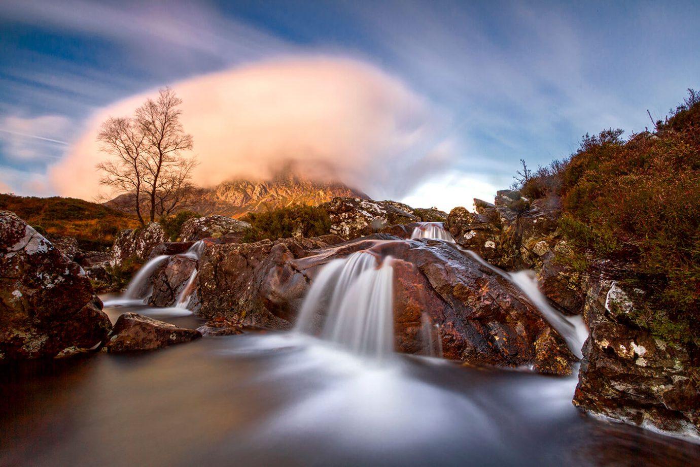 River Coupall Waterfall, Rannoch Moor, Glencoe, Scotland