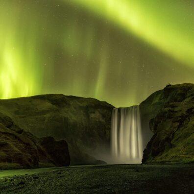 Aurora Borealis, Skogafoss Waterfall, Iceland