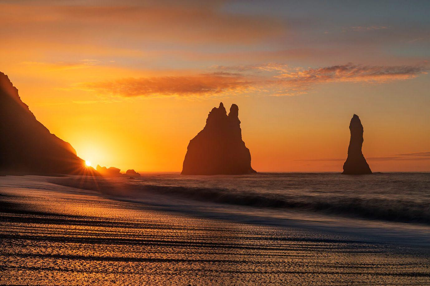 Sunrise Starburst, Sea Stacks, Reynisfjara, Vik, Iceland