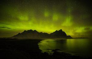 Aurora Borealis, Vestrahorn, Stokksnes, Hofn, Iceland