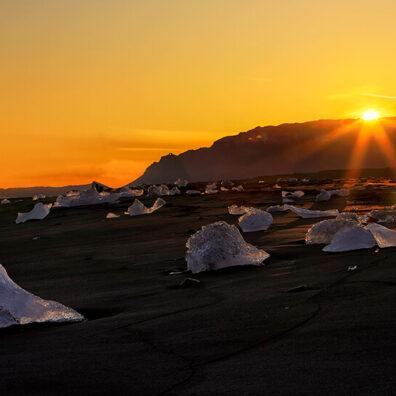 Sunset, Jökulsárlón, Diamond Ice Beach, Iceland