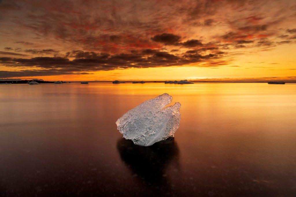 Sunrise, Jökulsárlón, Diamond Ice Beach, Iceland
