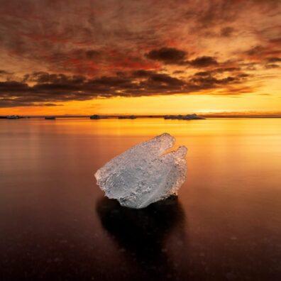 Sunrise and an Iceberg, Diamond Ice Beach, Jökulsárlón, Iceland