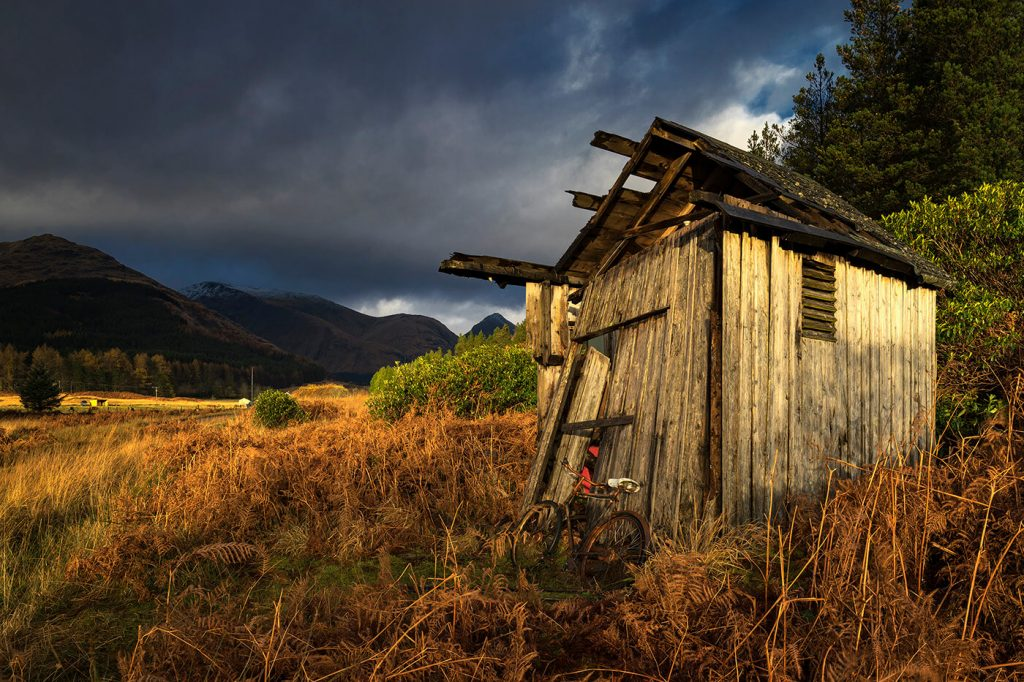 Dilapidated Wooden Shed, Glen Etive, Glencoe, Scotland