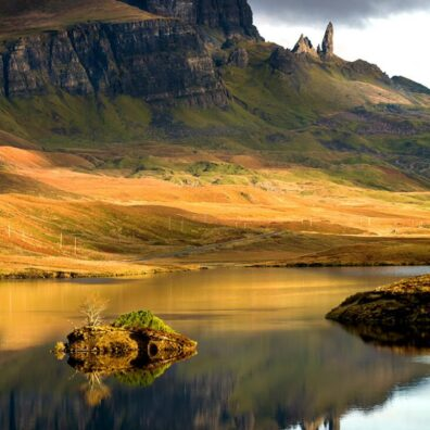 Loch Fada and the Old Man of Storr, Isle of Skye, Scotland
