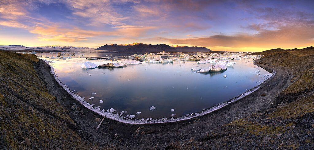 Sunset, Jökulsárlón Lagoon, Iceland