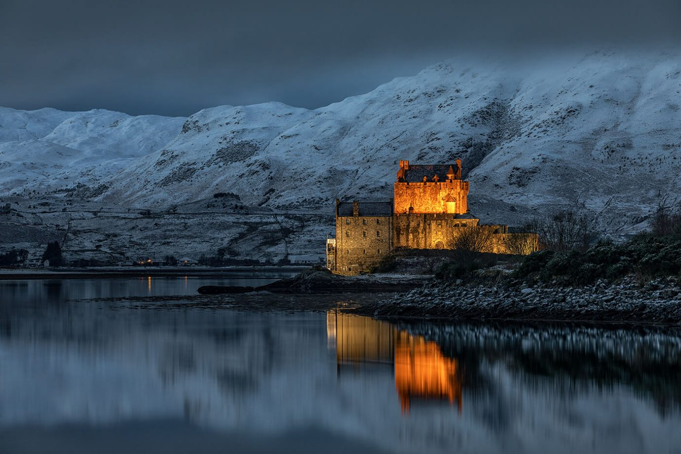 Dusk over Eilean Donan Castle, Kyle of Lochalsh, Scotland