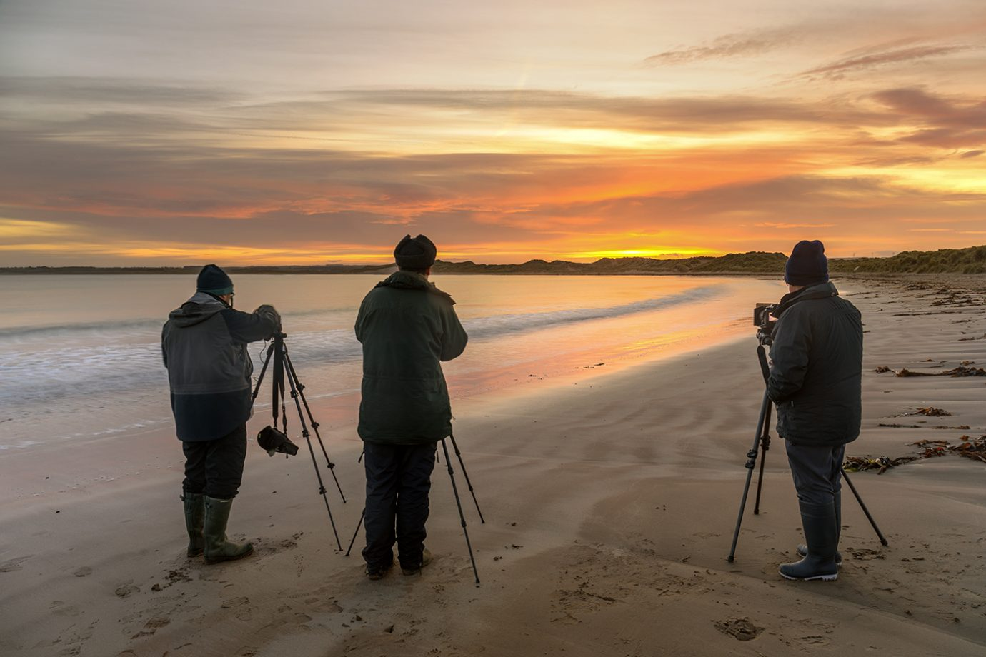 Workshop Clients, Sunset, Beadnell, Northumberland