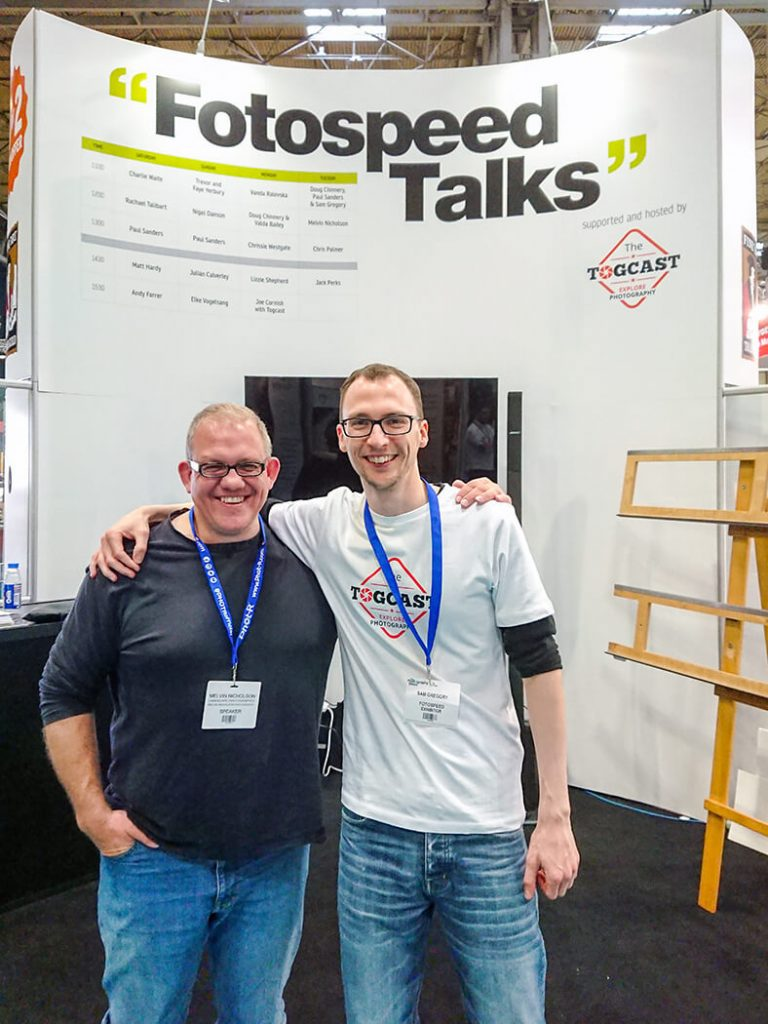 Sam Gregory from Togcast on the Fotospeed stand at The Photography Show 2018, NEC, Birmingham