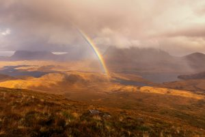 Magical Rainbow Over Suilven and Cul Mor from Stac Pollaidh, Assynt, Scotland