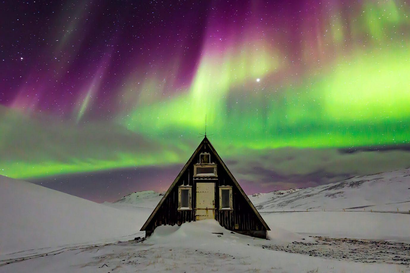 Aurora Borealis, Emergency Mountain Hut, Snæfellsnes Peninsula, Iceland