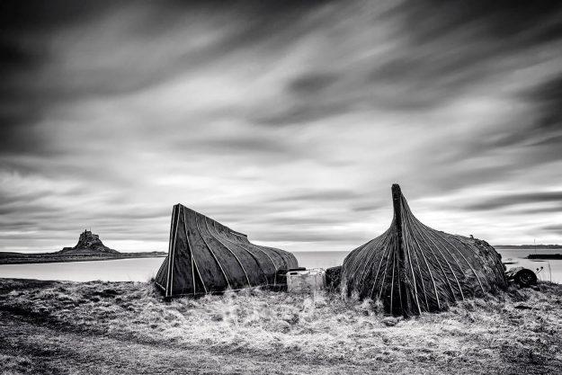 Lindisfarne Castle & Boat Huts, Holy Island, Northumberland