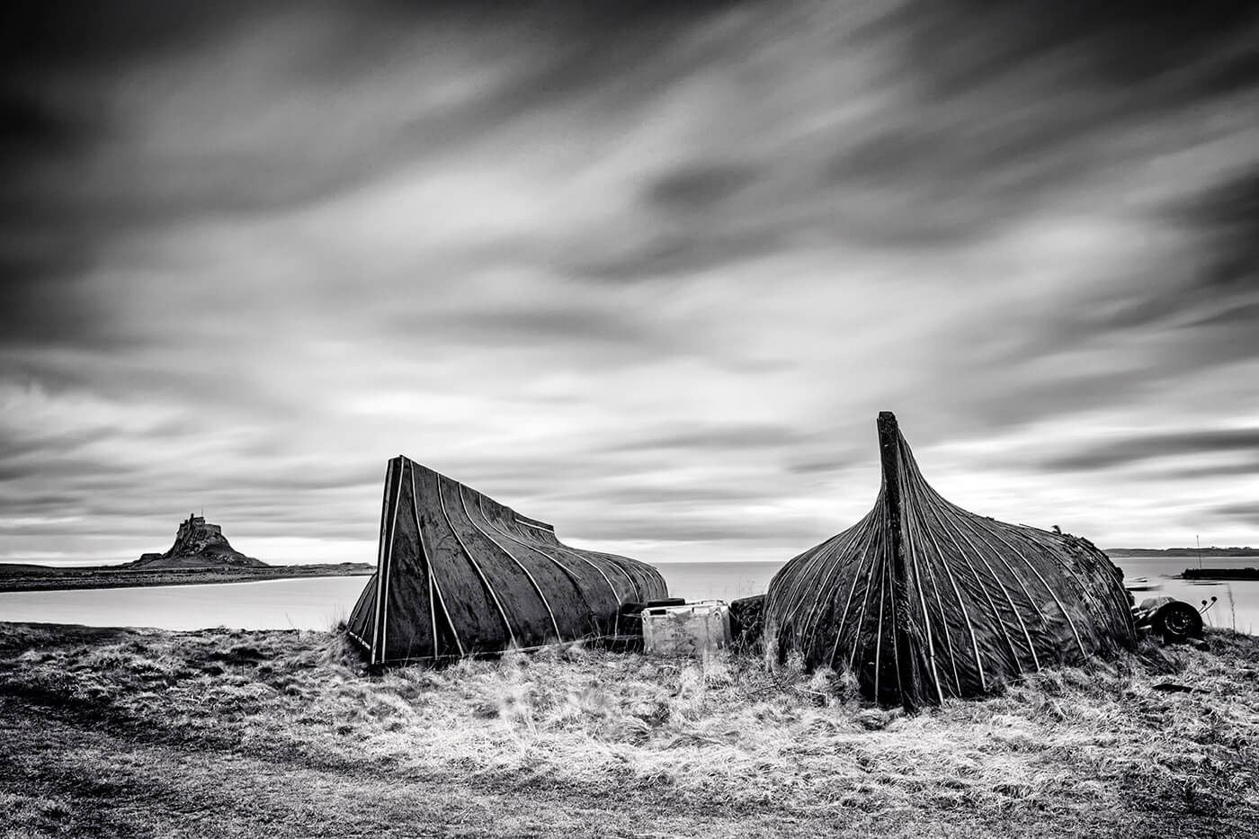 Lindisfarne Castle & Boat Huts, Holy Island, Northumberland