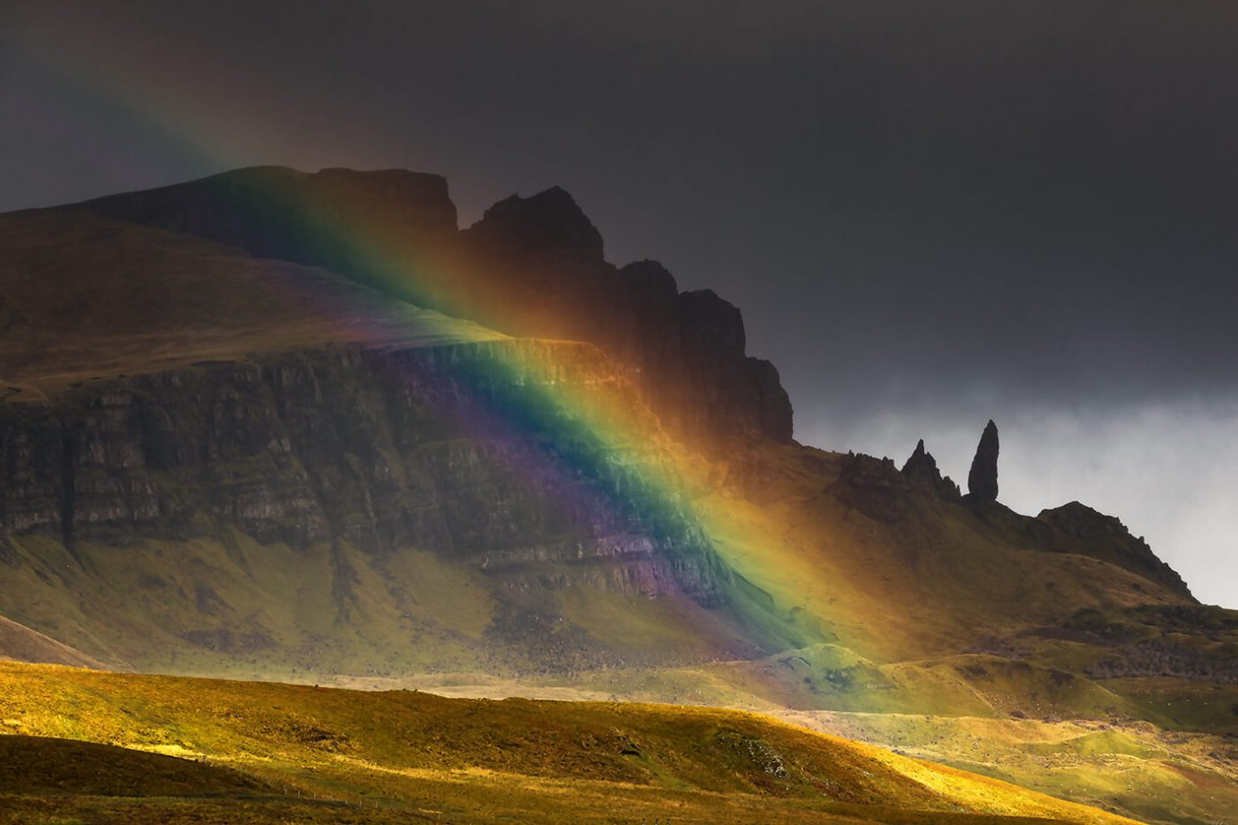 Rainbow, Old Man of Storr, Skye