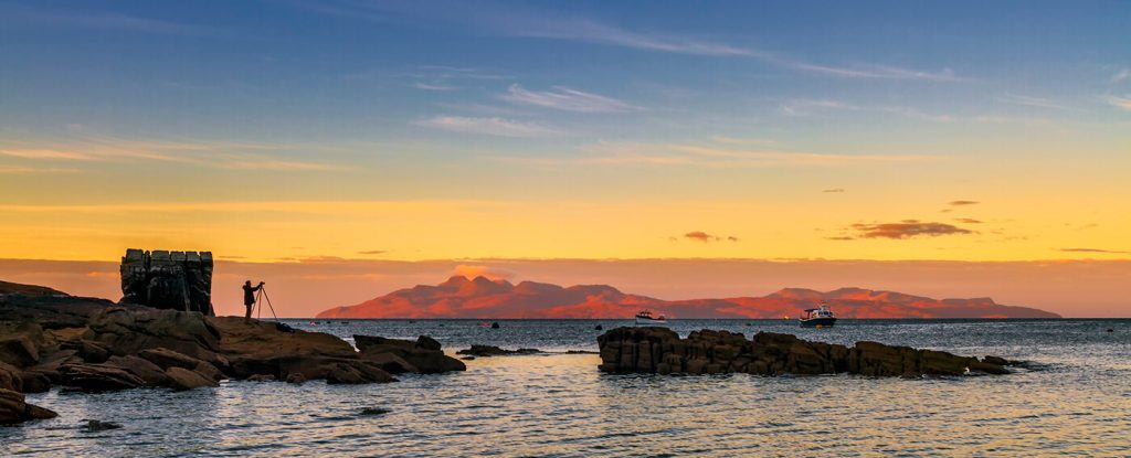 Sunrise Over Rum and Canna from Elgol, Skye