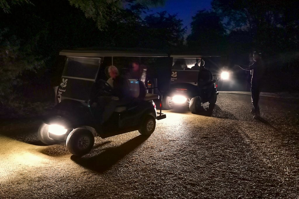 Collecting the electric buggies at 5am, Stowe National Trust Visitor Centre