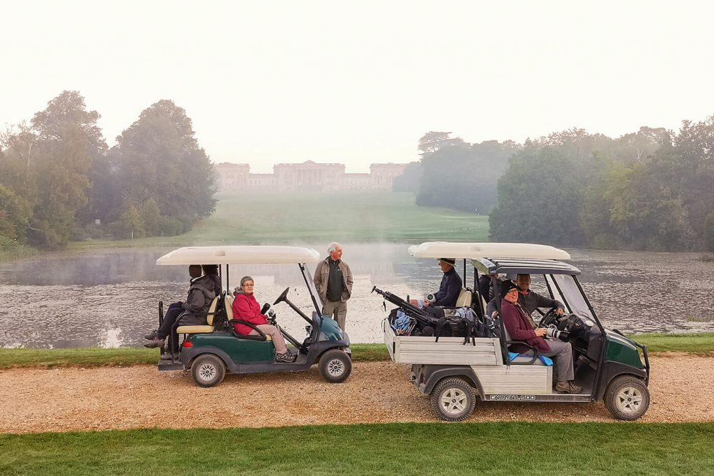 Electric buggies at Octagon Lake, Stowe National Trust