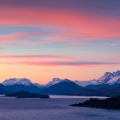 Sunset, Lake Wakatipu from Bennett's Bluff, Queenstown, New Zealand