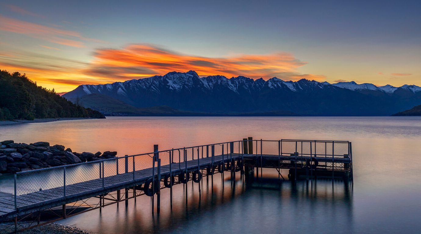 Sunrise Over Sunshine Bay Reserve, Queenstown, New Zealand
