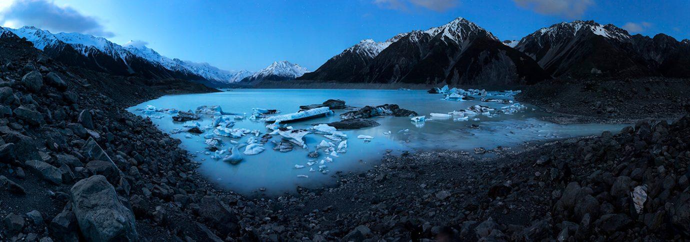 Moonlight & Icebergs, Tasman Lake, Mt Cook National Park, New Zealand