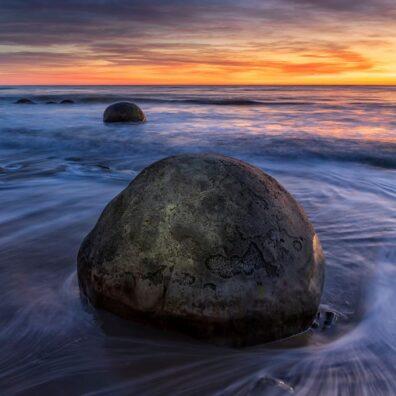 Fiery Sunrise, Moearaki Boulders, Koekohe Beach, South Island, New Zealand, Melvin Nicholson Photography