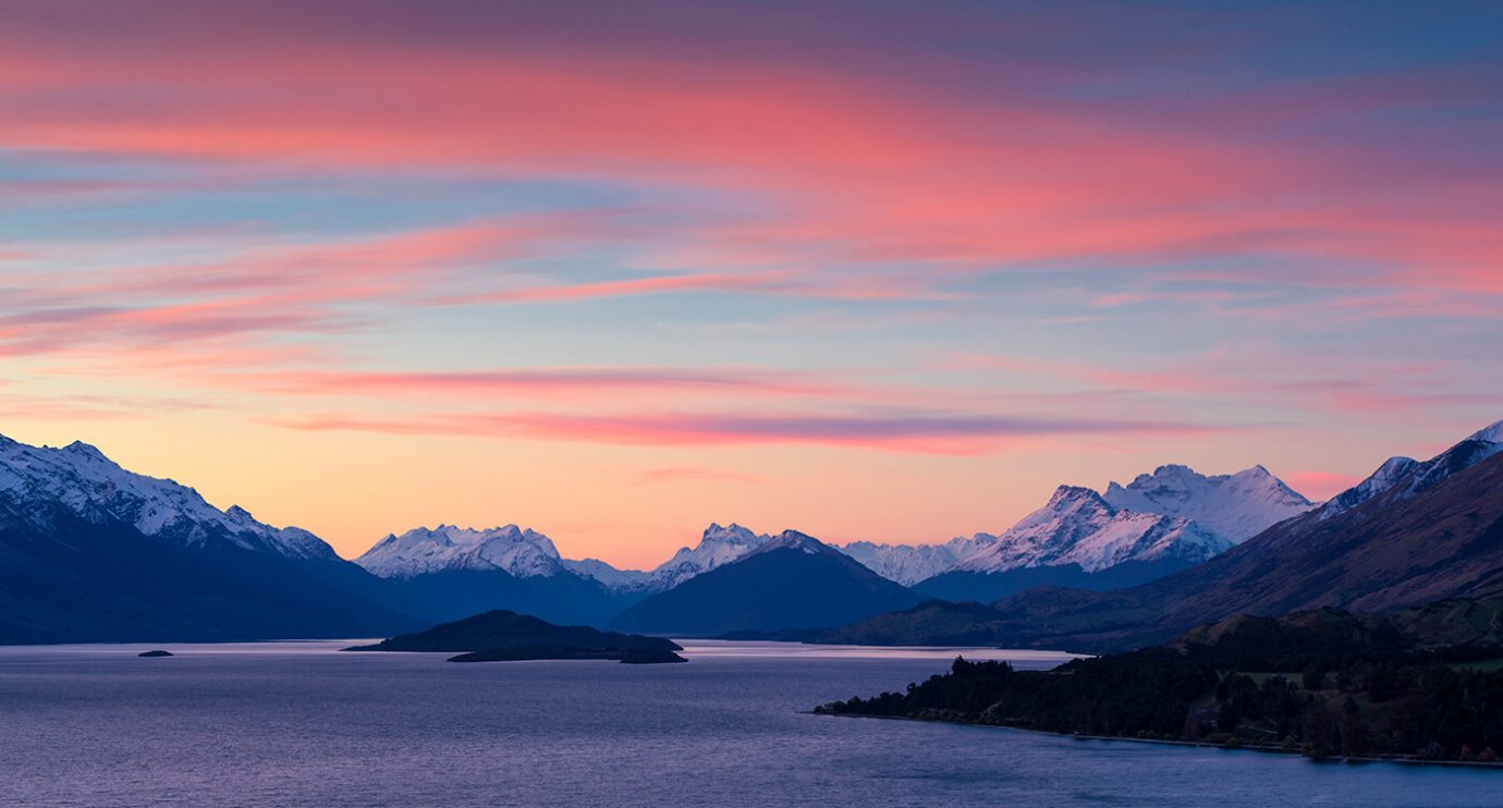 Sunset over Glenorchy from Bennett's Bluff, nr Queenstown, South Island, New Zealand, Melvin Nicholson Photography