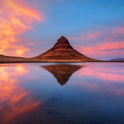 Fiery Sunset, Kirkjufell, Snæfellsnes Peninsuala, Iceland, Melvin Nicholson Photography