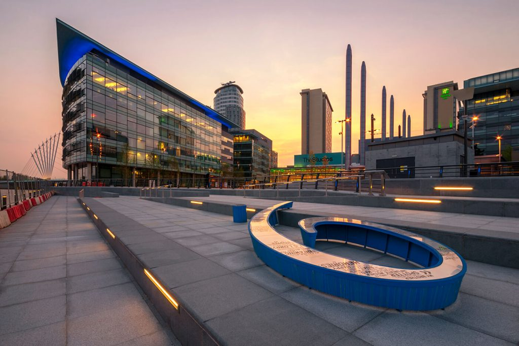 Sunset, Media City, Salford Quays. Manchester