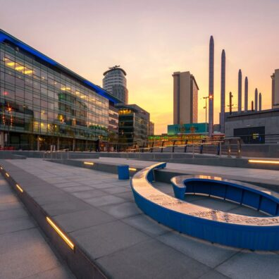 Sunset, Media City, Salford Quays. Manchester